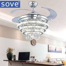 modern led crystal chandelier fan light living room bedroom retractable folding with remote control volt lamp in ceiling fans from lights kit