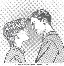 Lovers Couple Kissing Romantic Kiss Romance Valentines Day Illustration Happy Valentines Day Concept Idea Of Advertisement And Promo Halftone