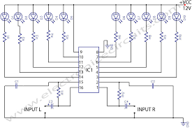 led circuit diagrams ireleast info led stereo sound level indicator electronic circuits wiring circuit