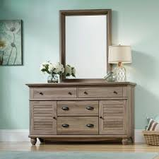 Sauder Bedroom Furniture Sauder 414942 Harbor View Salt Oak Dresser With Mirror