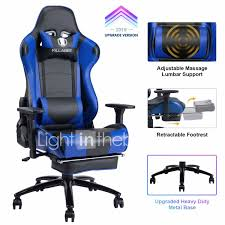 Light Blue Gaming Chair Killabee Big And Tall 350lb Massage Memory Foam Gaming Chair