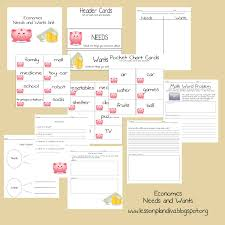 Needs And Wants Chart Economics Needs And Wants Mini Unit The Lesson Plan Diva