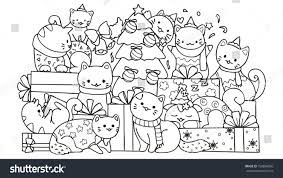 Christmas Cats Coloring Pages For Kids With Cute Cats Gift Boxes