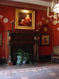 Damask patterned wall paper with raised texture became the norm for upscale  Victorian homes.