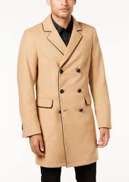 guess men s harlan double ted peacoat with faux leather trim