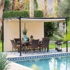 belham living steel outdoor pergola gazebo with retractable canopy shades hayneedle