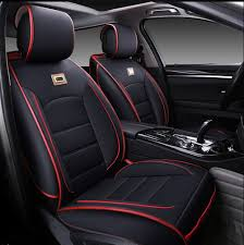 details about all seasons pu leather full set car seat cover for 5 seats car 6pcs black