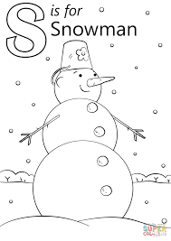 Small Picture Letter S is for Snowman coloring page Free Printable Coloring Pages