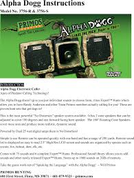 Alpha Sound Light Dogg002 Electronic Game Caller User Manual Part One Primos
