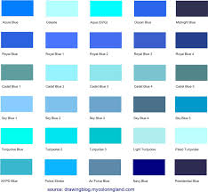Aquamarine Color Chart Different Shades Of Blue A List With Color Names And Codes
