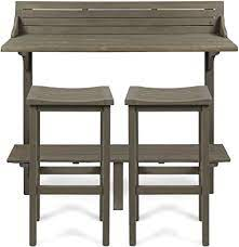 Christopher Knight Home 304147 Caribbean Outdoor Acacia Wood Balcony Bar Set 3 Pcs Set Grey Finish Garden Outdoor