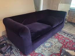 habitat louis purple velvet 4 seat sofa setee footstool ottoman 2 yrs old