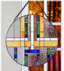 mission style tiffany stained glass window panel