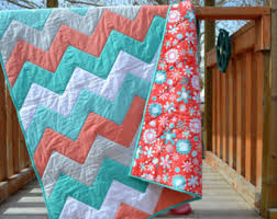 Handcrafted Quilts For Sale by MagpieQuilts on Etsy & Chevron Baby Quilt in Turquoise Blue and Coral, Modern Baby Bedding, Minkee  Baby Blanket Adamdwight.com