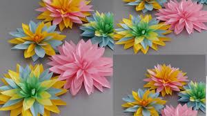 Dahlia Flower Making With Paper Diy Paper Dahlia Tutorial