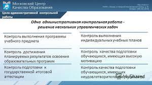 Презентация на тему Ладыгина С А начальник отдела Московского  6 Цели административной контрольной