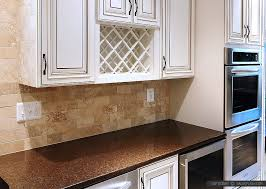 subway travertine beige brown backsplash tile brown countertop beige cabinet