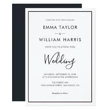 Black And White Invitation Paper Black White Minimalist Wedding Invitation 01