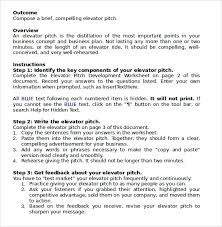 pitch document template sample elevator pitch template 11 free documents in pdf word