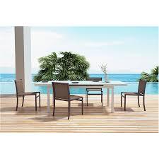 modern outdoor furniture cheap. Maribella White + Brown Powder Coated Aluminum Modern Outdoor Dining Set Furniture Cheap