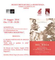 """""""Nella notte ci guidano le stelle. La mia storia partigiana"""": presentazione  del libro di Angelo Del Boca – Torino 19 maggio 2016 – Historia Magistra"""
