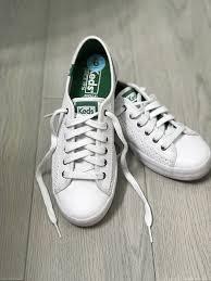 kickstart perf leather keds white green ortholite