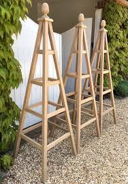oak obelisk wooden garden obelisks