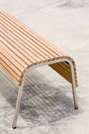 stainless steel bench seat with solid teak timber slats