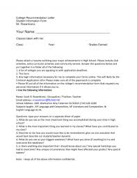 Letter Recommendation Resume Write Writing Letters For College