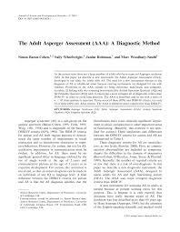 Pdf The Adult Asperger Assessment Aaa A Diagnostic Method