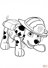 Paw Patrol Marshall Puppy Coloring Page Free Printable Pup Patrol