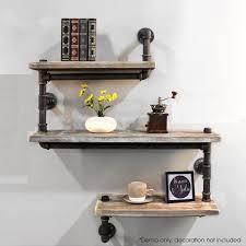 industrial pipe shelving bookshelf rustic modern wood ladder pipe wall shelf 3 tiers wrought iron pipe