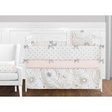 pink and grey crib bedding sets sweet jojo designs blush gold white star moon