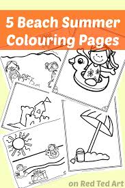 At the beach color by number. 5 Free Beach Coloring Pages For Preschool Red Ted Art