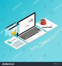 Isometric Laptop Pop Job Search Resume Stock Vector 697280134