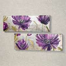 Purple Wall Decor For Bedrooms Purple Allure Floral Canvas Wall Art Set Floral Canvases And