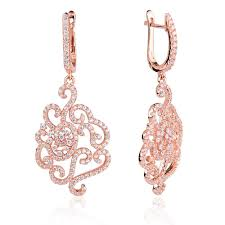 ingenious rose gold chandelier earrings with pave flower design