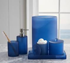 Bathroom Canister Set Delectable Serra Mix And Match Bath Accessories Navy Blue Pottery Barn
