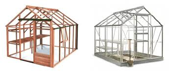 a wooden and metal greenhouse
