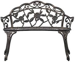 vidaXL <b>Bistro Bench 100cm</b> Bronze Cast Aluminium Park Deck ...