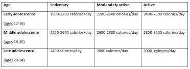 Calorie Chart For Children Teenage Caloric Requirements