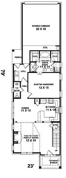 enderby park narrow lot home plan 087d 0099 house planore l shaped house plans for narrow lots