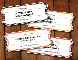 Microsoft Word Ticket Templates Stunning Printable Coupons Tickets Vouchers Movie Night Colors Etsy