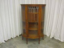 curved glass curio cabinet. Brilliant Cabinet Antique China Curio Cabinet Hutch W Leaded Glass Panel Curved Sides  Sawn  Oak In