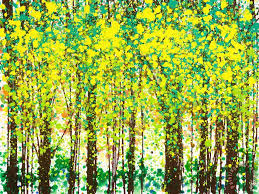 trees at twilight iii painting jerome lawrence trees at twilight iii art print