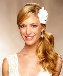 Half Ponytail Hairstyles Sideways Hairdo With Flower Wedding Ideas Pinterest Wedding