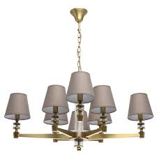 modern 8 arm pendant chandelier in antique brass with fabric shades