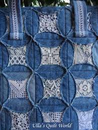 like how this blue jean quilt is made - instructions are included ... & Ulla's Quilt World: Quilted pouch and bag + Cathedral window quilt bag;  using the