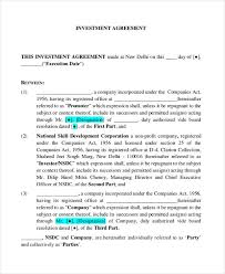 Business Investment Agreements Unique 44 Investment Contract Templates Free Sample Example Format