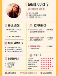 Art Resume Templates Minimal Multimedia Artist Resume Templates